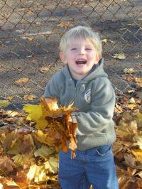 Boy clearing leaves